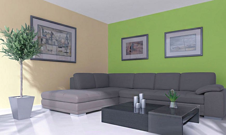Дизайн комнаты - бежевый и зеленый цвет